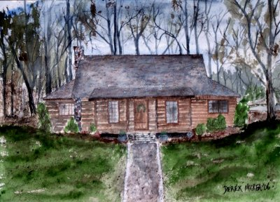 Painting: Log Cabin Scene in Rural Vermont by Artist Leonard
