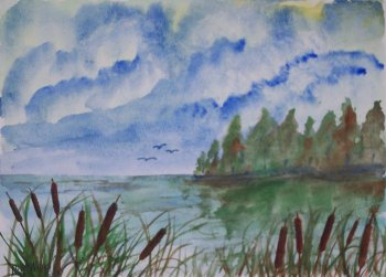 cattails 3 still life watercolor painting