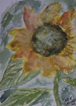 rustic sunflower watercolor painting