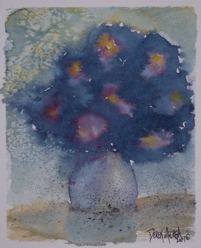 flowers at night watercolor painting