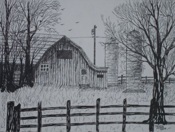Barn and silo Wisconsin pen and ink drawing