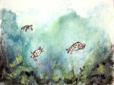 painting of sea turtles