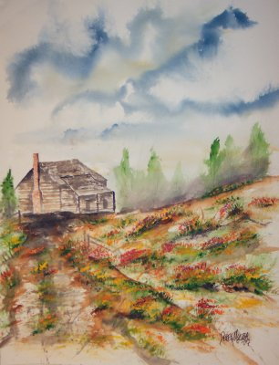 barn and flowers painting