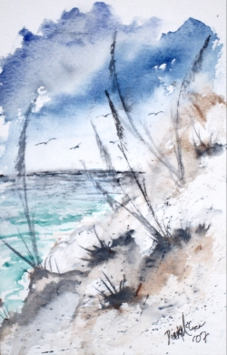 sand dunes seascape watercolor painting