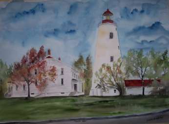 sandy hook lighthouse painting print