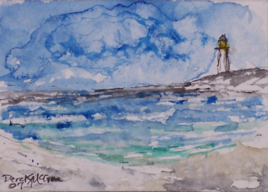 beach seascape lighthouse watercolor painting