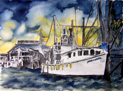 boat watercolor painting