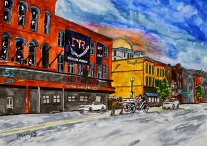 Cadillac Ranch Nashville TN cityscape painting