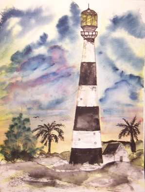 cape canaveral lighthouse painting