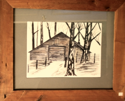framed country barn pen and ink drawing