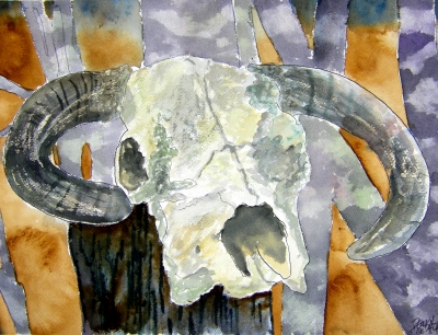 cow skull cowboy art painting
