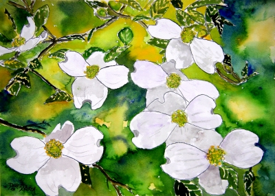 dogwood flowers still life painting
