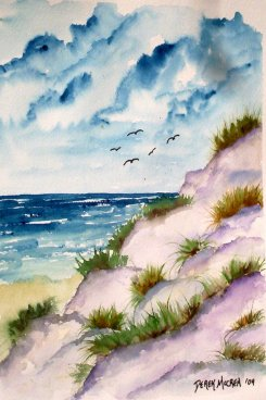 sand dunes seascape aceo watercolor painting