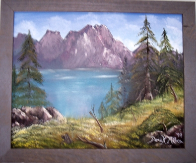 framed mountains landscape oil painting