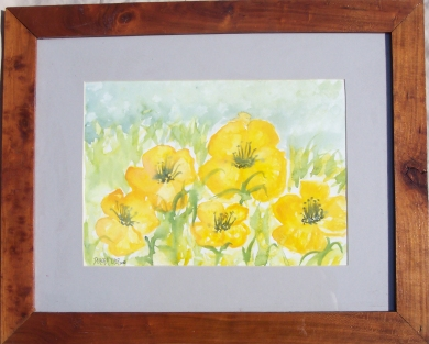 framed flowers watercolor painting