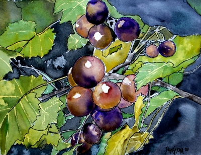 grape vine still life painting
