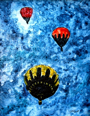 painting of hot air ballons