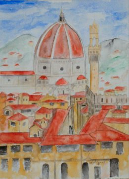 florence italy cityscape painting
