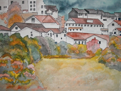 watercolor italian landscape city painting
