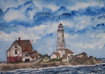 lil brewster light lighthouse painting