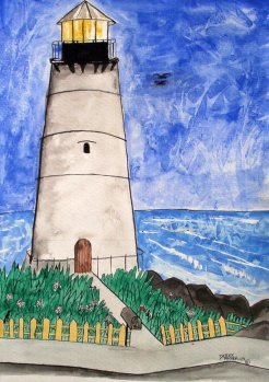 modern lighthouse watercolor painting