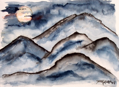 mountains landscape at night painting