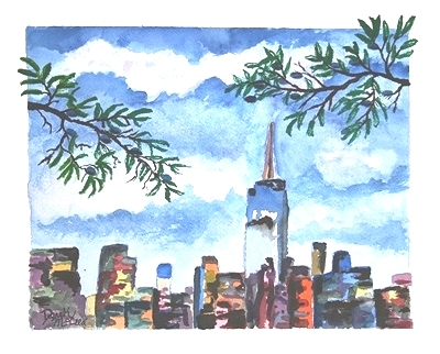 new york city watercolor painting