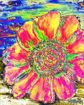 modern oil flowers painting print