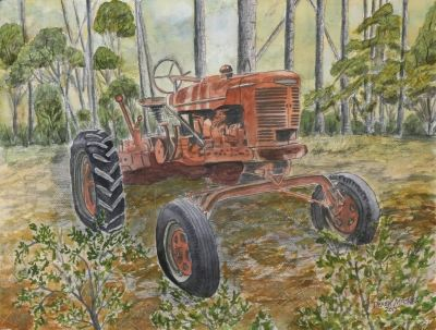 old farm tractor painting