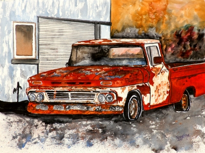 old red truck watercolor painting