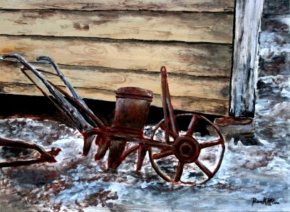 old farm plow painting