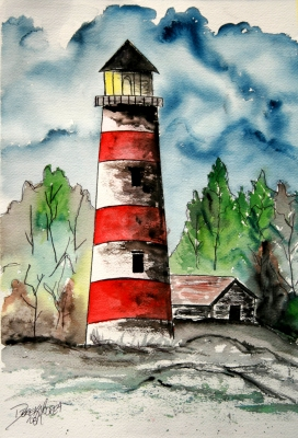 Lighthouses hand painted art patterns - Wrought Iron Bakers Racks