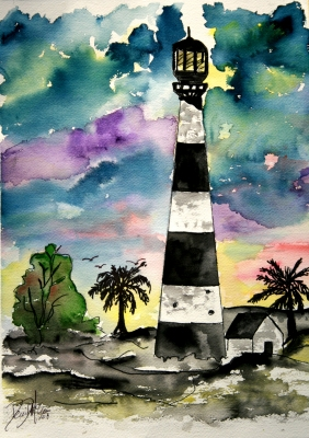 Lighthouse, seascape, beach, boat watercolor art paintings