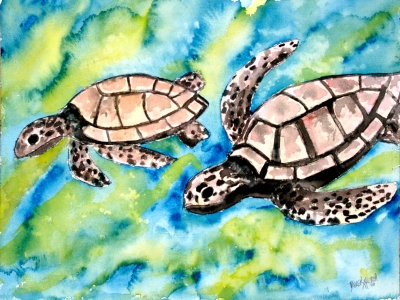 pair of sea turtles painting
