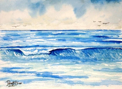 Palm Beach Waves Painting Original Watercolor Seascape Art Tropical Scene Blue And Aquamarine Ocean Saltwater 9 X 12 Inches