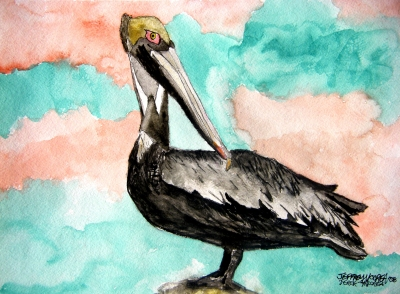pelicans bird painting 3