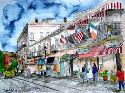 savannah river street georgia painting