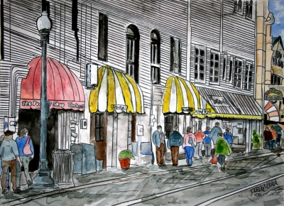 savannah river street cityscape painting