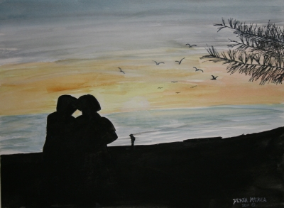 silhouette beach painting