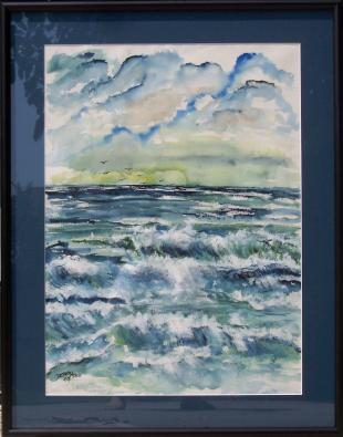 framed beach seascape large watercolor painting