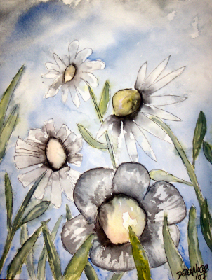 White Flower Watercolor Paintings